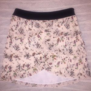 Ted Baker Tiered Ruffle Floral Crepe Mini Skirt